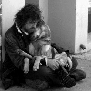 mendigo e cachorro