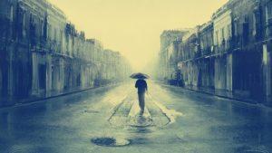 homem e guarda-chuva